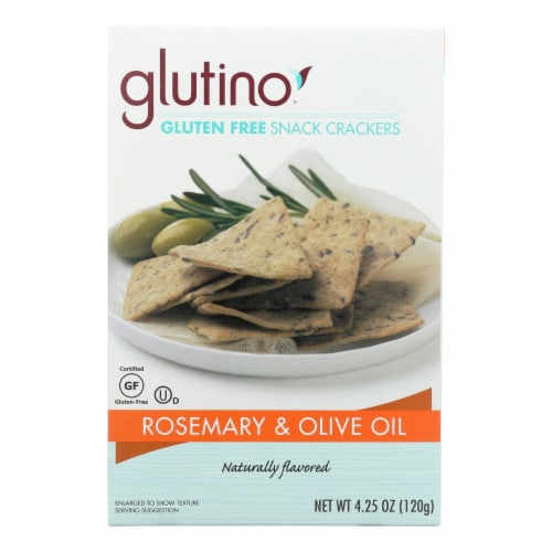 Glutino Crackers - Rosemary and Olive Oil - Case of 6 - 4.25 oz. Perspective: front