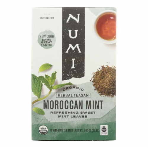 Numi Tea Moroccan Mint - Caffeine Free - 18 Bags Perspective: front