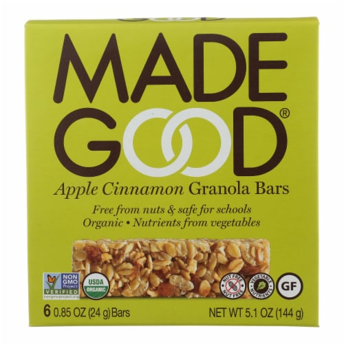 Made Good Granola Bar - Apple Cinnamon - Case of 6 - 5 oz. Perspective: front