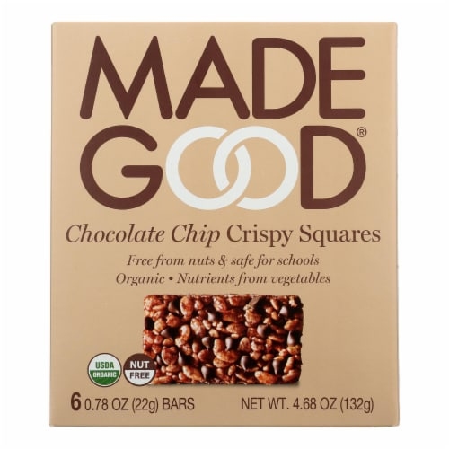 Made Good Crispy Squares - Chocolate Chip - Case of 6 - 4.68 oz. Perspective: front