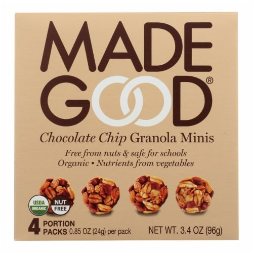 Made Good Granola Minis - Chocolate Chip - Case of 6 - 3.4 oz. Perspective: front
