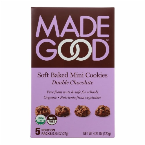 Made Good Soft Baked Mini Cookies - Double Chocolate - Case of 6 - 4.25 oz. Perspective: front