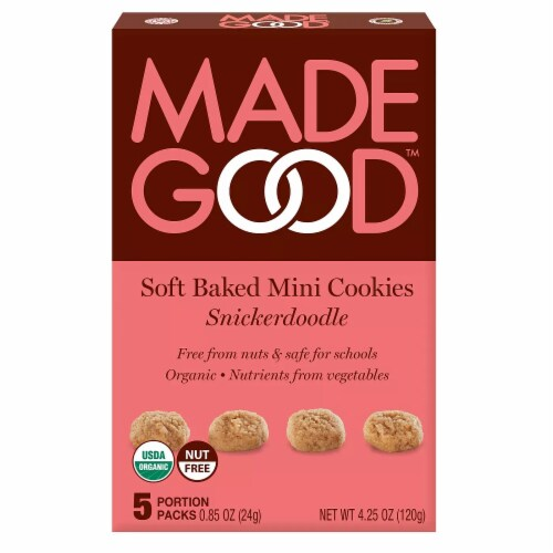 MadeGood Soft Baked Mini Cookies Snickerdoodle Organic Nut Free 4.25oz PK6 Perspective: front
