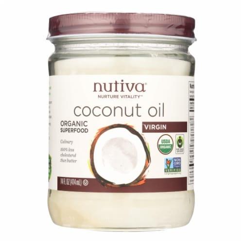 Nutiva Coconut Oil - Organic - Superfood - Virgin - Unrefined - 14 oz - Case of 6 Perspective: front