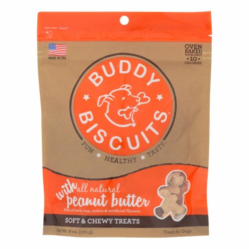 Cloud Star - Buddy Biscuits Soft and Chewy Treats - Peanut Butter - Case of 12 - 6 oz. Perspective: front