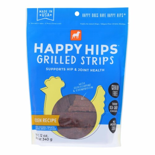 Happy Hips - Strips Green Free Chicken - Case of 6 - 12 OZ Perspective: front