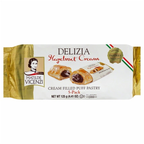 Matilde Vicenzi Delizia Hazelnut Cream Filled Puff Pastry, 4.41 oz [Pack of 8] Perspective: front