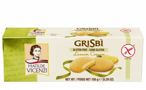 Vicenzi Grisibi Lemon Cream Filled Gluten Free Cookies , 5.29oz (Pack of 12) Perspective: front