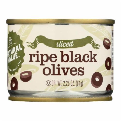Natural Value, Ripe Sliced Black Olives - Case of 24 - 2.5 OZ Perspective: front