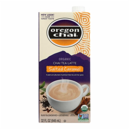Oregon Chai Tea Latte Concentrate - Salted Caramel - Case of 6 - 32 Fl oz. Perspective: front