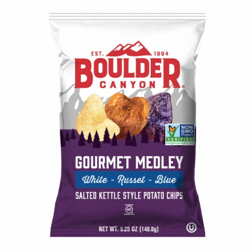 Boulder Canyon White Russet Blue Kettle Cooked Potato Chips (12 Pack) Perspective: front