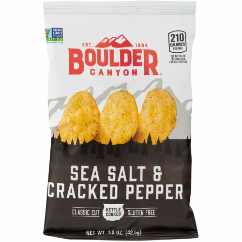 Boulder Canyon Sea Salt and Cracked Pep Kettle Cooked Potato Chips - 1.5 oz. bag, 55 pre case Perspective: front