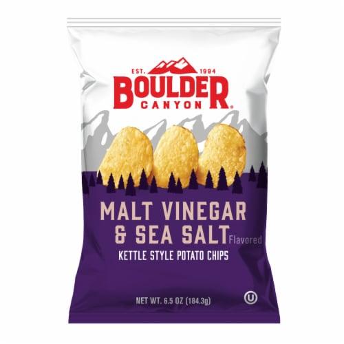 Boulder Canyon Malt Vinegar & Sea Salt Kettle Cooked Potato Chips, 6.5 Oz (Pack of 12) Perspective: front