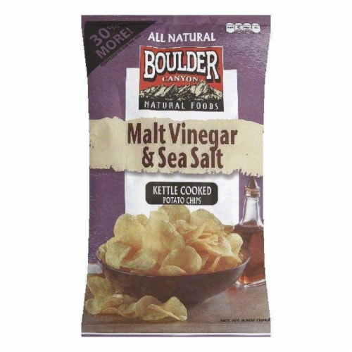 Boulder Canyon Hickory Barbeque Kettle Cooked Potato Chips, 6.5 Oz (Pack of 12) Perspective: front