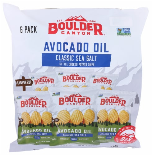 Boulder Canyon Avocado Oil Classic Sea Salt  Kettle Cooked Potato Chips (Pack of 8) Perspective: front
