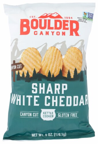 Boulder Canyon Sharp White Cheddar Kettle Cooked Potato Chips, 6 Oz (Pack of 12) Perspective: front
