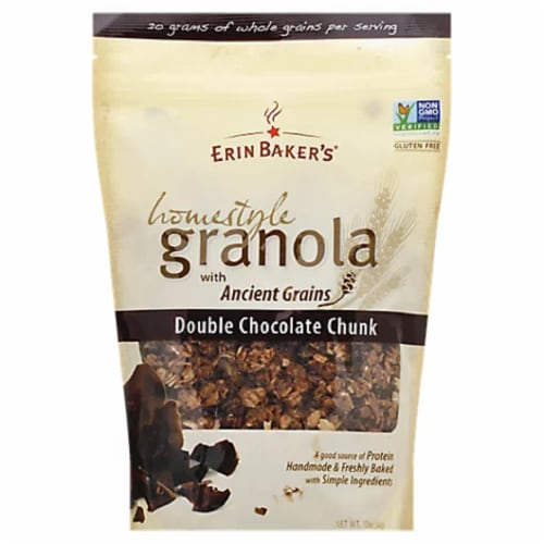 Erin Bakers Double Chocolate Chunk Homestyle Granola, 12 OZ (Pack of 6) Perspective: front