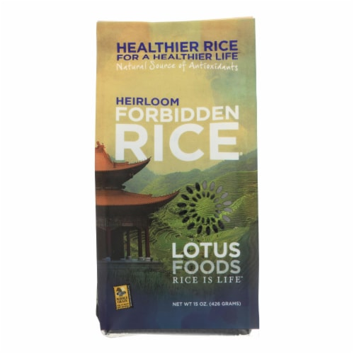 Lotus Foods Heirloom Forbidden Black Rice - Case of 6 - 15 oz. Perspective: front
