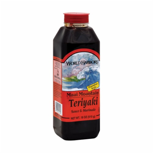 World Harbor Maui Mountain Teriyaki Marinade and Sauce - Case of 6 - 16 Fl oz. Perspective: front