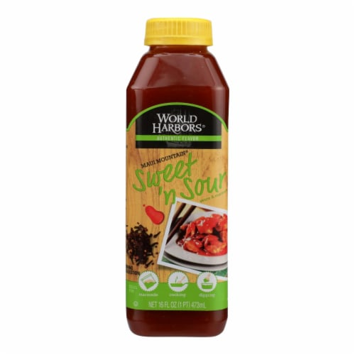 World Harbor Maui Mountain Hawaiian Style Sweet and Sour Sauce - Case of 6 - 16 Fl oz. Perspective: front