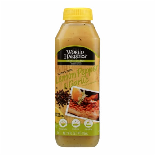 World Harbor Lemon Pepper Garlic Seafood Poultry Sauce and Marinade - Case of 6 - 16 Fl oz. Perspective: front