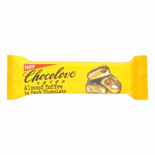 Chocolove Xoxox - Bar - Almond Toffee - Dark Chocolate - Case Of 12 - 1.41 Oz Perspective: front