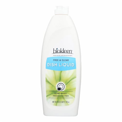 Biokleen Dish Liquid - Natural - Free and Clear - 25 oz - Case of 6 Perspective: front