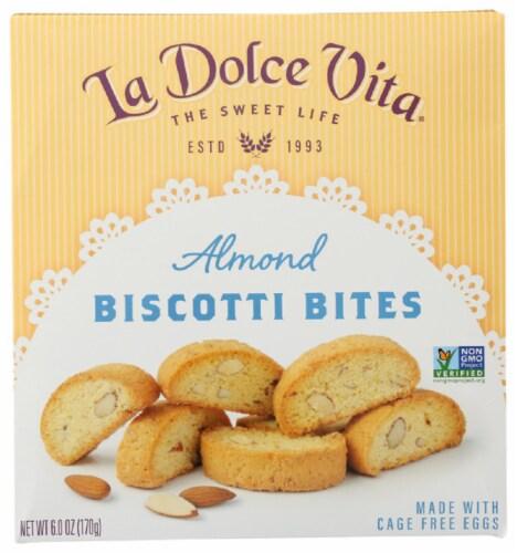La Dolce Vita Almond Biscotti Bites Non GMO 6oz  PK6 Perspective: front