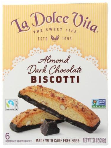 La Dolce Vita Almond Dark Chocolate Biscotti Non GMO 7.28oz  PK6 Perspective: front