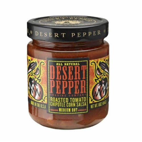 Desert Pepper Roasted Tomato Chipotle & Corn Salsa - Medium, 16 Oz (Pack of 6) Perspective: front