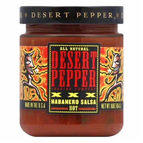 Desert Pepper Roasted Habanera Salsa - XXXtra Hot, 16 OZ (Pack of 6) Perspective: front