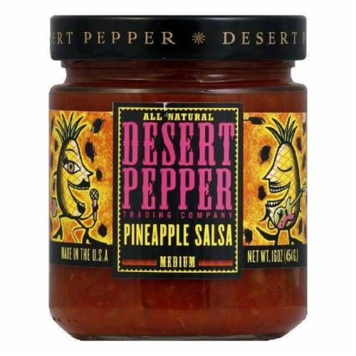 Desert Pepper Pineapple Salsa - Medium Hot, 16 OZ (Pack of 6) Perspective: front