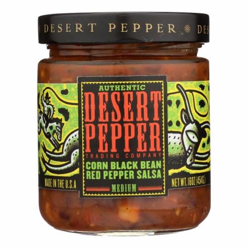 Desert Pepper Trading - Medium Corn Black Bean Red Pepper Salsa - Case of 6 - 16 oz. Perspective: front