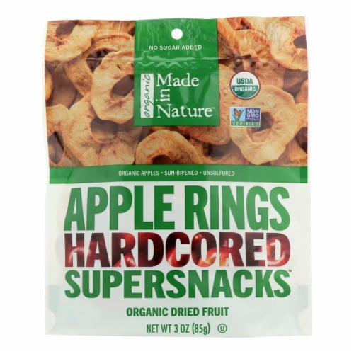 Made In Nature Apple Rings Organic Dried Fruit  - Case of 6 - 3 OZ Perspective: front