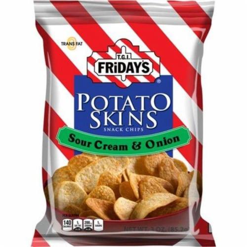 TGI Fridays, Potato Skins Sour Cream & Onion, 3.0 oz. BIG bag (6 count) Perspective: front
