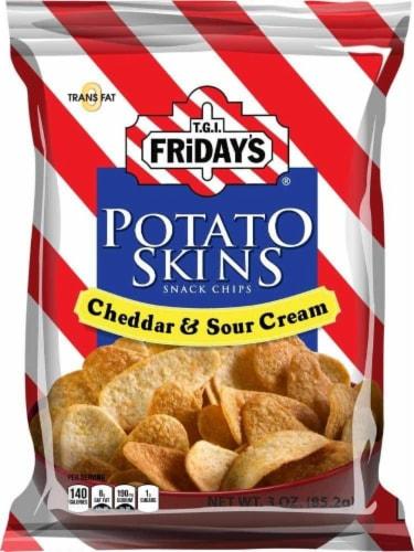 TGI Fridays, Potato Skins Cheddar & Sour Cream, 3.0 oz. BIG bag (6 count) Perspective: front