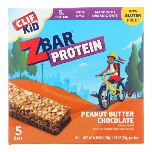 Clif Kid Zbar Organic Kid Zbar Protein - Peanut Butter Chocolate - Case of 6 - 1.27 oz. Perspective: front