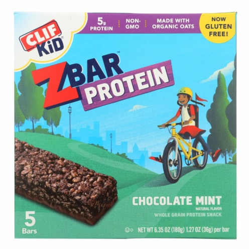 Clif Kid Zbar Organic Kid Zbar Protein - Chocolate Mint - Case of 6 - 1.27 oz. Perspective: front