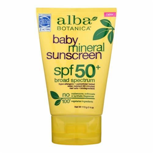 Alba Botanica - Sunscreen - SPF 50 Broad Spectrum - Case of 1 - 4 oz. Perspective: front