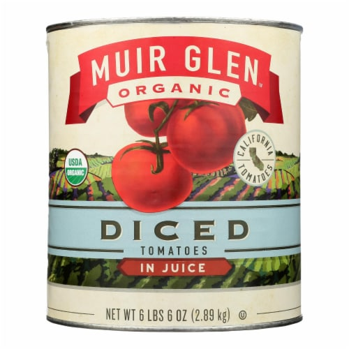 Muir Glen Organic Diced Tomatoes - Case of 6 - 102 oz Perspective: front