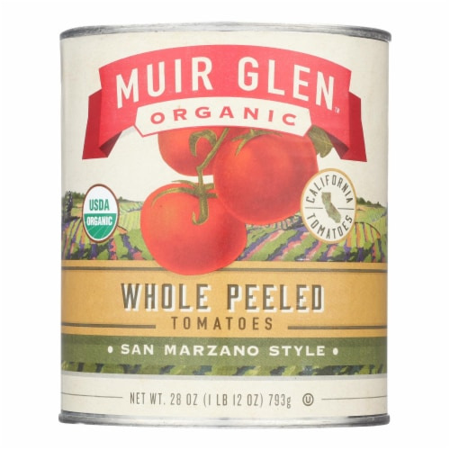 Muir Glen Peeled Whole Plum Tomatoes - Tomatoes - Case of 12 - 28 oz. Perspective: front