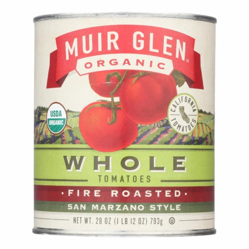 Muir Glen Fire Roasted Whole Tomatoes - Tomato - Case of 6 - 28 oz. Perspective: front