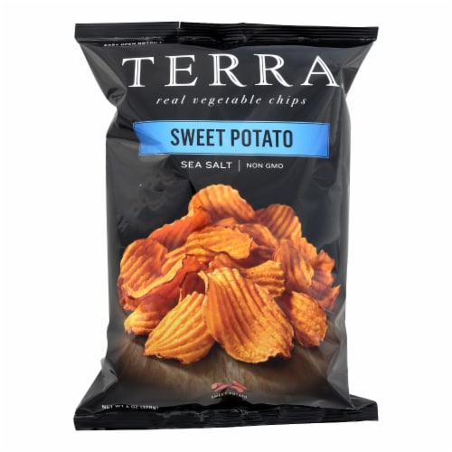 Terra Chips Sweet Potato Chips - Crinkled Sweet Potato with Sea Salt - Case of 12 - 6 oz. Perspective: front