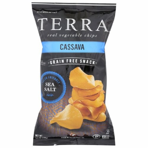 Terra Cassava Real Vegetable Chips Grain Free Snack Sea Salt, 4.2oz (pack of 12) Perspective: front