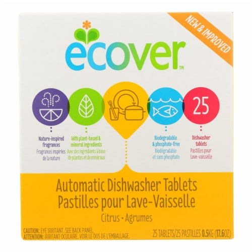 Ecover Automatic Dishwasher Tabs - Case of 12 - 17.6 oz Perspective: front