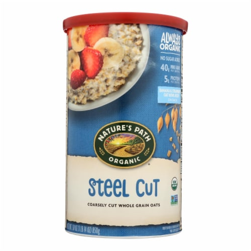 Nature's Path Organic Steel Cut Oats - Case of 6 - 30 oz. Perspective: front