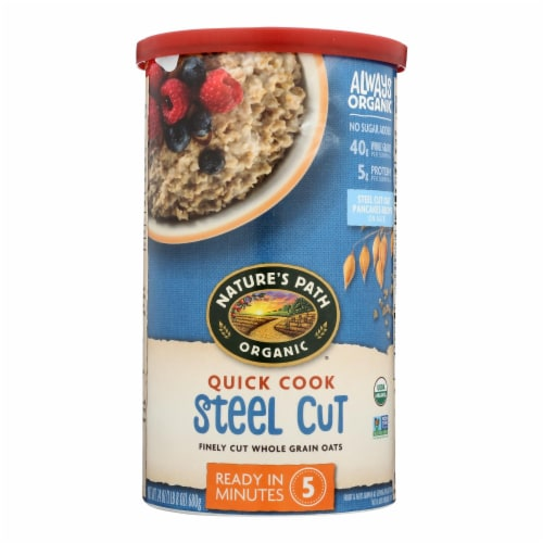 Nature's Path Oats - Organic - Steel Cut - Quick - Case of 6 - 24 oz Perspective: front