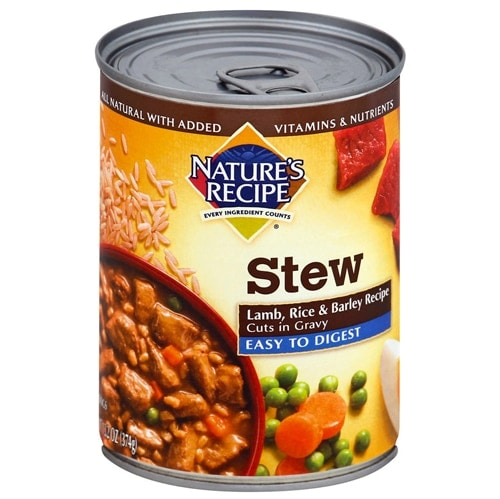 Nature's Recipe Easy to Digest Lamb Stew Wet Dog Food Case Perspective: front