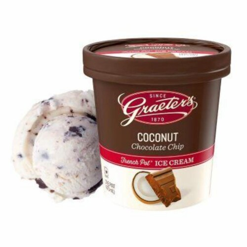 Graeter's Coconut Chocolate Chip, pint (8 count) Perspective: front