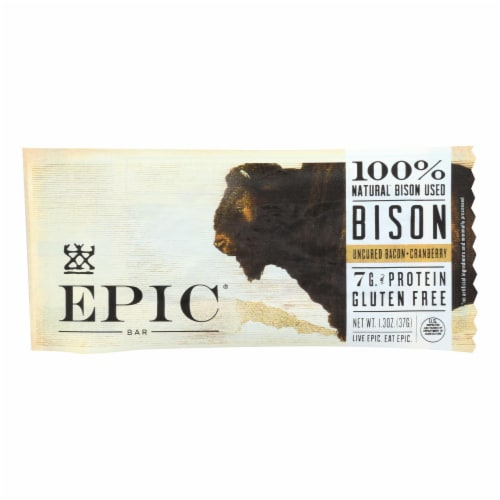 Epic Bar Gluten Free Uncured Bacon + Cranberry Bison Bars - Case of 12 Perspective: front